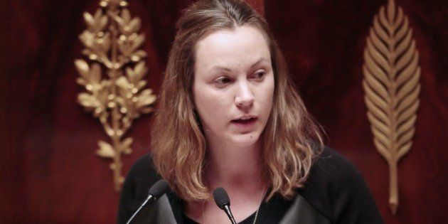 French Socialist Party (PS) MP and rapporteur of the Law Committee, Axelle Lemaire speaks during a debate...