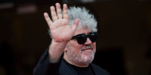 Spanish film director and producer Pedro Almodavar gestures as he arrives at Victoria Eugenia cinema...
