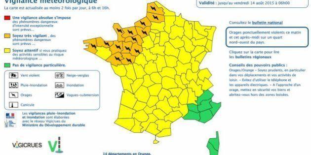 Orages: 14 départements placés en alerte orange dans