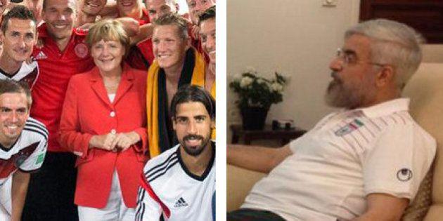 PHOTOS. Coupe du monde 2014 : Angela Merkel félicite son équipe dans les vestiaires et Hassan Rouhani...