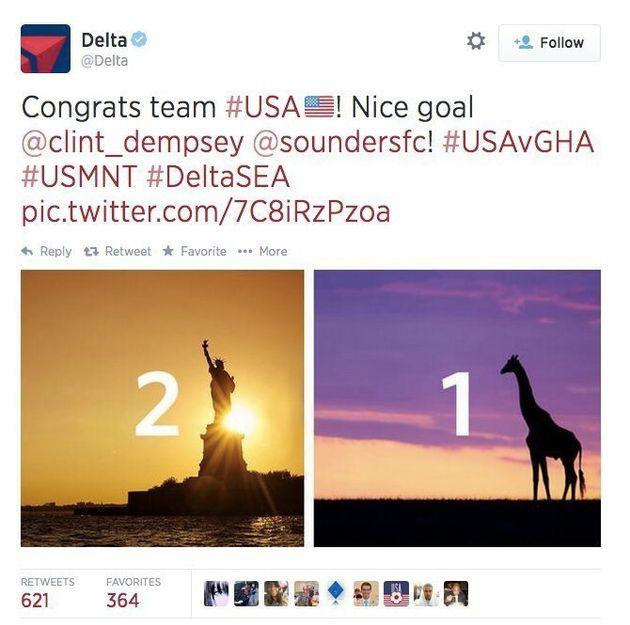 Pour Etats-Unis - Ghana, une compagnie aérienne représente l'équipe ghanéennee avec une