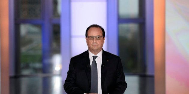 French President Francois Hollande is seen before appearing on France 2 television prime time live