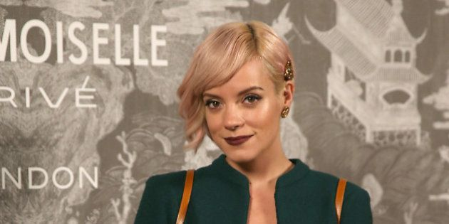 Lily Allen poses for photographers upon arrival at the Chanel Mademoiselle Prive Exhibit in London, Monday,...