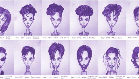 Les géniales coupes de cheveux de Prince résumée en un