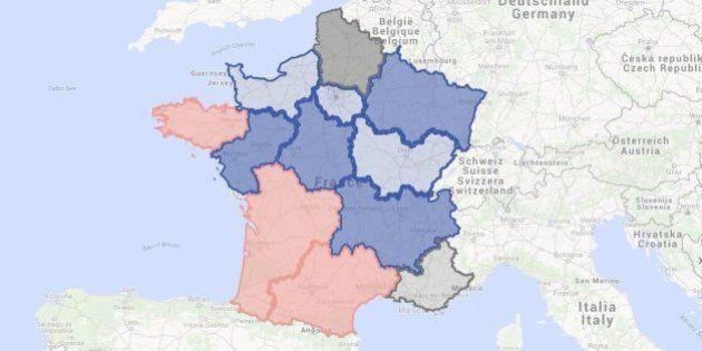 Qui sont les favoris des régionales? Une carte pour un sondage région par