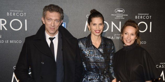 French director Maiwenn (C) poses with French actors Vincent Cassel (L) and Emmanuelle Bercot before...