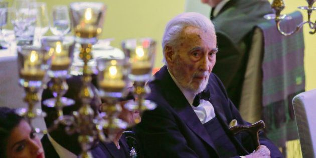English actor Sir Christopher Lee attends the Cinema for Peace gala in Berlin, Monday, Feb. 9, 2015....