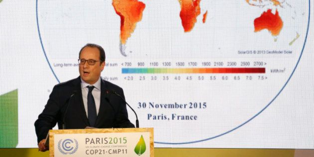 French President Francois Hollande delivers a speech during the launching of the International Solar...
