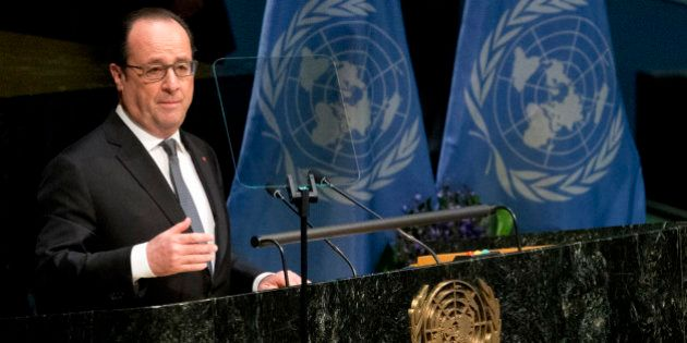 French President Francois Hollande speaks during the Paris Agreement on climate change ceremony, Friday,...