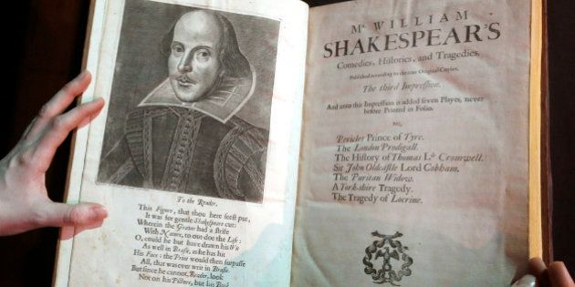 FILE - In this March 16, 2016, file photo, a portrait of William Shakespeare is seen in the Third Folio,...