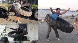 Il fait du hula hoop avec un pneu de 50