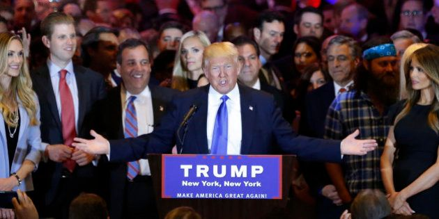 Republican U.S. presidential candidate Donald Trump is joined by his campaign manger Corey Lewandowski...