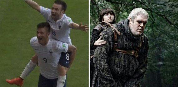 Buts de Suisse-France: la célébration de Valbuena sur le dos de Giroud rappelle Game of Thrones aux