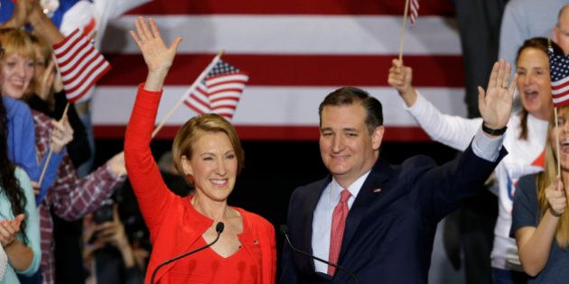 Republican presidential candidate Sen. Ted Cruz, R-Texas, joined by former Hewlett-Packard CEO Carly...