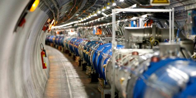 A general view of the Large Hadron Collider (LHC) experiment is seen during a media visit at the Organization...