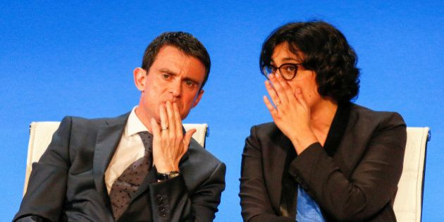 French Prime Minister Manuel Valls (L) and French Labour Minister Myriam El Khomry attend a cabinet meeting...