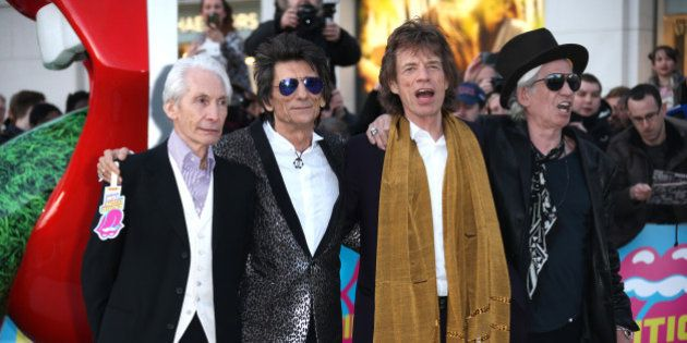 Members of the band The Rolling Stones, from left, Charlie Watts, Ronnie Wood, Mick Jagger and Keith...