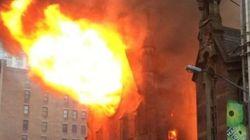 Un violent incendie ravage une cathédrale en plein