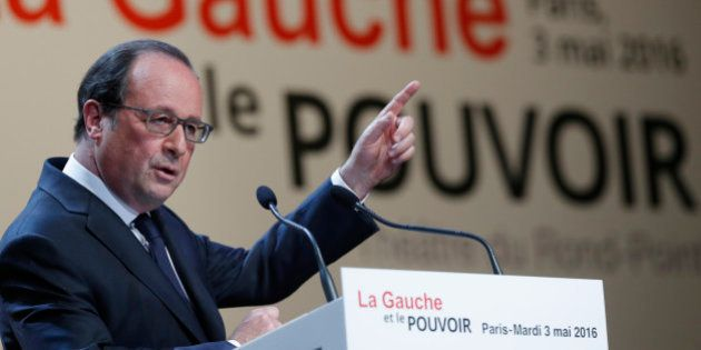 French President Francois Hollande delivers a speech during the