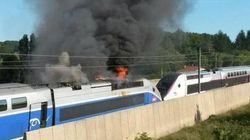 Spectaculaire incendie d'un TGV près de