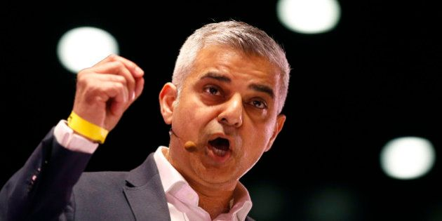 In this April 28, 2016 photo, Candidate for London Mayor Sadiq Khan speaks during an assembly at the...