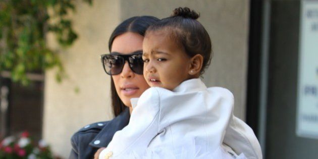 Kim Kardashian and sister Kourtney Kardashian are seen taking their daughters North West and Penelope...