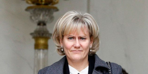 France's Minister for Apprenticeship and Professional Formation Nadine Morano, walks out after the weekly...