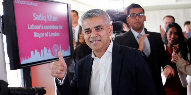 Sadiq Khan gives a thumbs up after he was announced the winner of the election for the Labour party's...