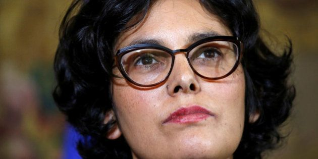 French Labour Minister Myriam El Khomri reacts after a meeting with student union leaders on the labour...
