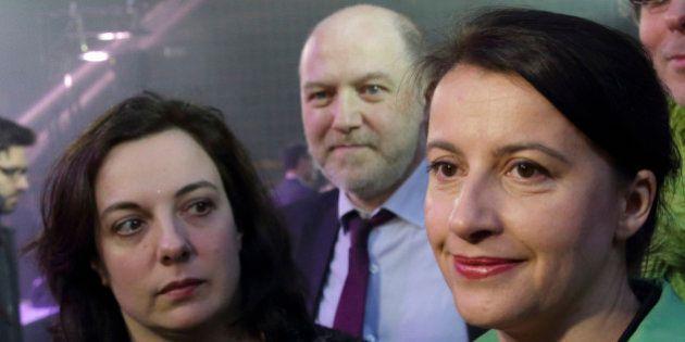 Green party EELV leader Emmanuelle Cosse (L), Paris Deputy Mayor in charge of Ecology Denis Baupin (C)...