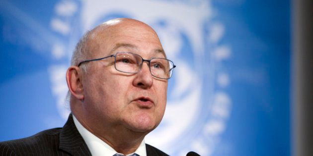 French Finance Minister Michel Sapin speaks at a news conference during the the G5 Ministers of Finance...