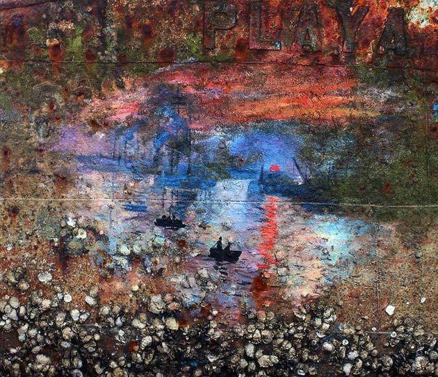 PHOTOS. L'hommage à Claude Monet de Pejac sur la coque d'une épave de