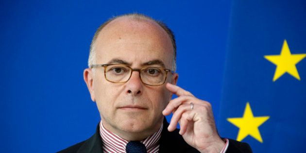 Fernch Interior Minister Bernard Cazeneuve is seen during a visit on security before the start of the...