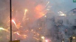 VIDÉO. Un feu d'artifice éclate en plein milieu d'une ville, provoqué par l'incendie d'un magasin à