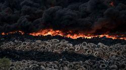 Les images dantesques de l'incendie d'une décharge de