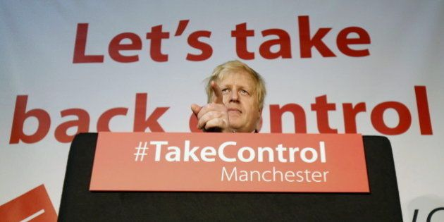 Mayor of London Boris Johnson speaks during a Vote Leave rally in Manchester, England, April 15, 2016....