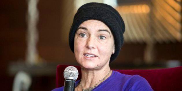 Irish singer-songwriter Sinead O'Connor attends a press event during the Budapest Spring Festival at...