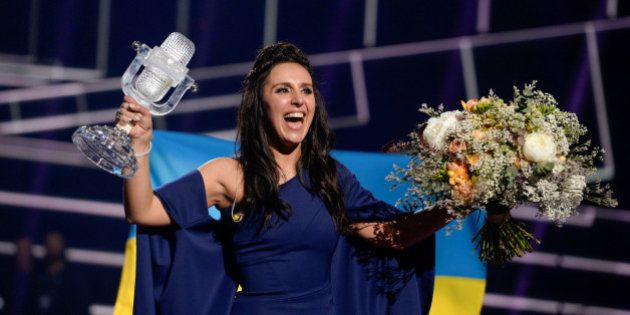 Ukraine's Jamala reacts on winning the Eurovision Song Contest final at the Ericsson Globe Arena in Stockholm,...