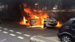 Manifestations de policiers: des casseurs incendient une voiture de
