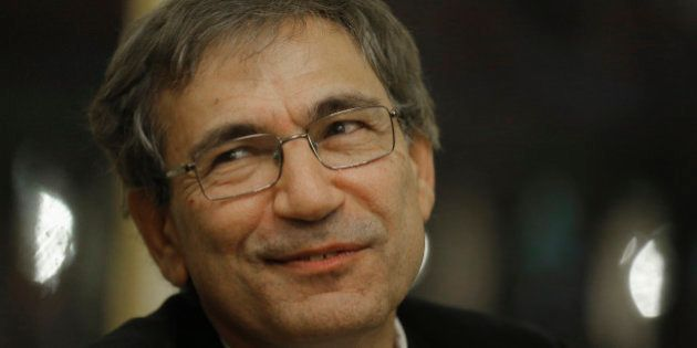 Orhan Pamuk, Turkish novelist and a Nobel Laureate, seen during a ceremony of he is award of Commander...