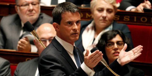 French Prime Minister Manuel Valls speaks during the questions to the government session at the National...