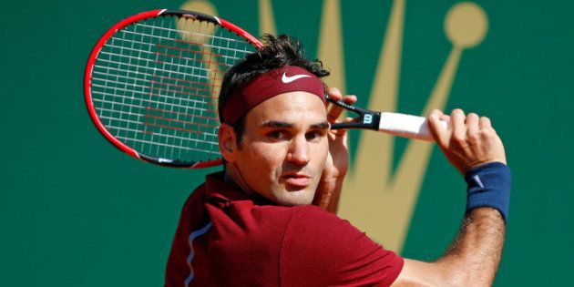 Tennis - Monte Carlo Masters - Monaco, 15/04/2016. Roger Federer of Switzerland plays a shot to Jo-Wilfried...