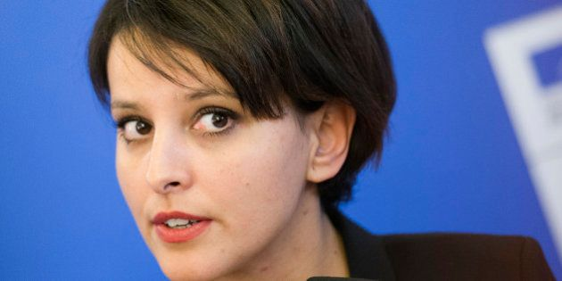 French Education Minister Najat Vallaud Belkacem talks, during a meeting, in Paris, Thursday, Jan. 15,...