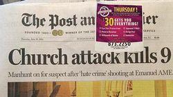 La Une d'un journal de Charleston estampillée d'une offre promo sur... les armes à
