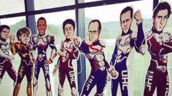 Hollande (et les 6 autres dirigeants) en héros de manga sur une affiche du