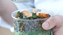 Vite fait, bien fait: salade de lentilles et saumon grillé, émulsion de