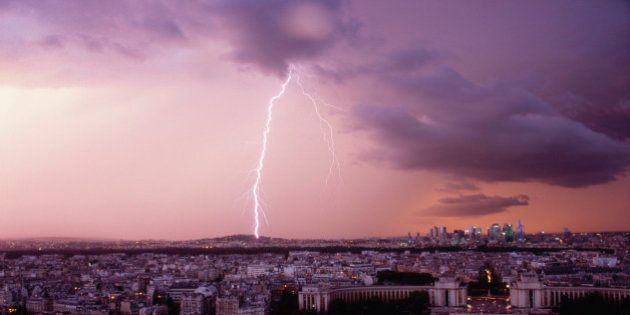 Lightning over Paris, France from Eiffel
