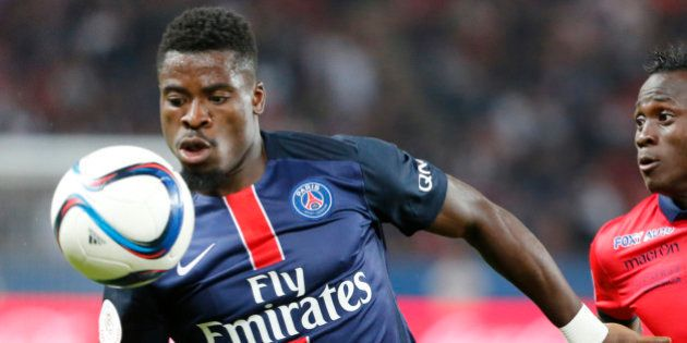Paris Saint Germain's Serge Aurier watches the ball during the French League one soccer match between...