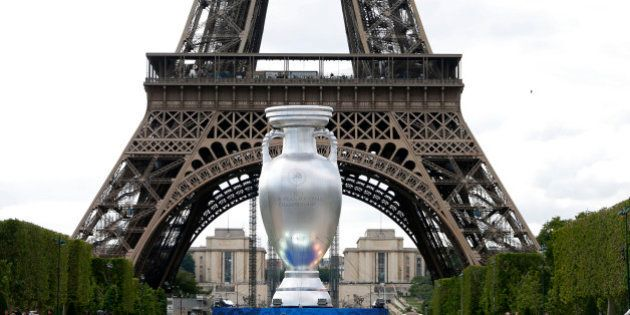 A 12-metre high replica of the Henri Delaunay Trophy is seen ahead of this week's brand and logo presentation...