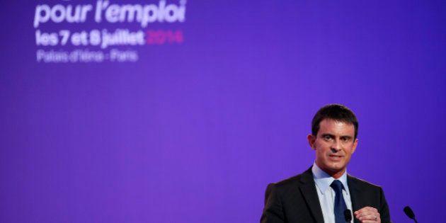 Valls promet des baisses d'impôts et 200 millions pour l'apprentissage à la conférence